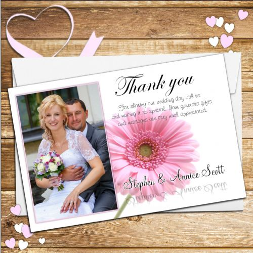 10 Personalised Pink Gerbera Wedding Thank you Photo cards N40